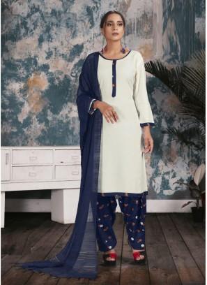 Plan Maslin Punjabi Salwar Kameez In White - Blue