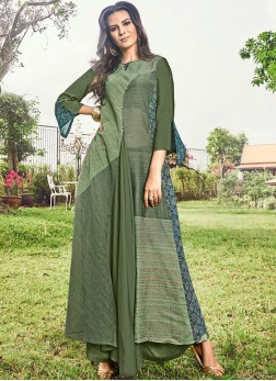 Pleasance Print Fancy Fabric Green Party Wear Kurti