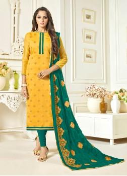 Pleasance Print Jacquard Yellow Churidar Designer Suit