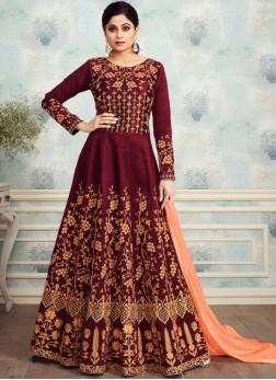 Pleasance Silk Embroidered Maroon Trendy Anarkali Salwar Kameez