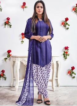 Pleasing Abstract Print Blue Faux Crepe Punjabi Suit