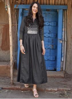 Pleasing Black Fancy Art Silk Party Wear Kurti