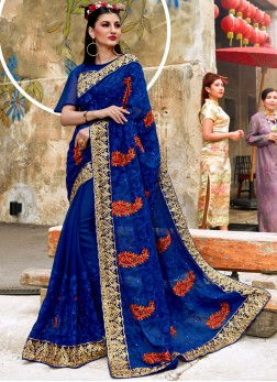 Pleasing Embroidered Wedding Classic Saree