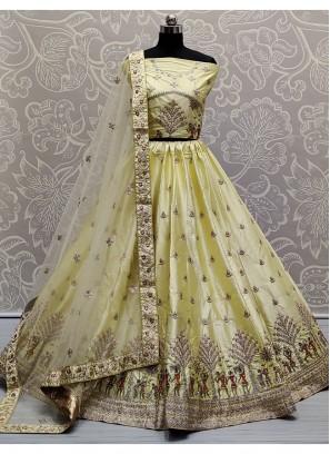 Pleasing Khaki Colour Sober and Embroidery Work Wedding Wear Lehenga Choli