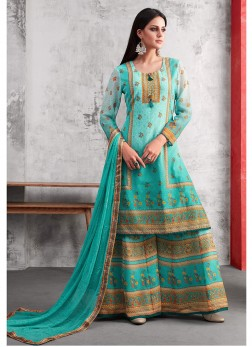 Pleasing Turquoise Casual Designer Palazzo Salwar Suit