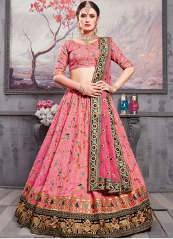 Pomogranate color Art Silk  Embroidered Lehenga Choli