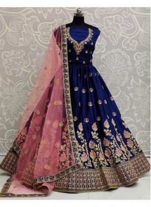 Popular Embroidery Work On Lehenga Choli Wedding Wear In Blue