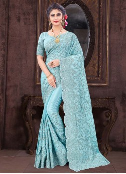 Popular Resham & Glitter Coding Embroidery Work On Saree In Sky Blue