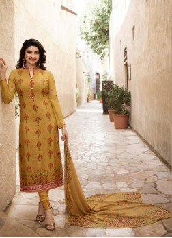 Prachi Desai Abstract Print Mustard Faux Georgette Churidar Designer Suit