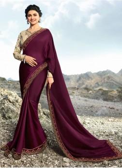 Prachi Desai Art Silk Lace Wine Designer Traditional Saree