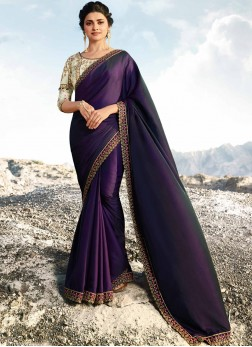 Prachi Desai Art Silk Purple Lace Designer Traditional Saree