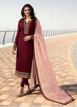Prachi Desai Embroidered Maroon Georgette Satin Designer Straight Suit