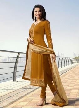 Prachi Desai Embroidered Mustard Georgette Satin Designer Straight Suit