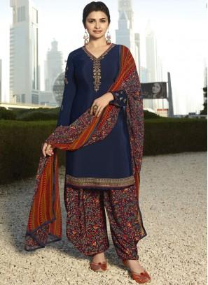 Prachi Desai Energetic Blue Designer Pakistani Suit
