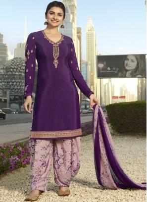 Prachi Desai Epitome Purple Designer Pakistani Suit