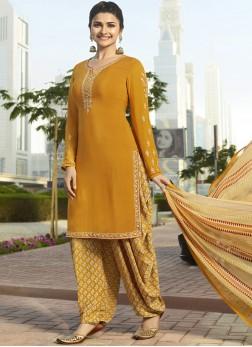 Prachi Desai Faux Crepe Party Designer Pakistani Suit