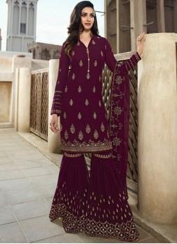 Prachi Desai Faux Georgette Embroidered Purple Designer Palazzo Suit
