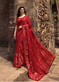 Prachi Desai Faux Georgette Foil print Red Printed Saree