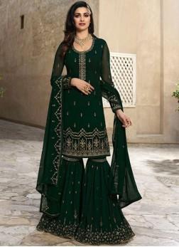 Prachi Desai Faux Georgette Resham Green Designer Palazzo Suit