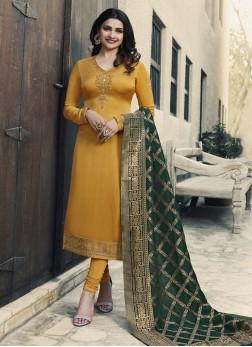 Prachi Desai Georgette Satin Ceremonial Churidar Designer Suit