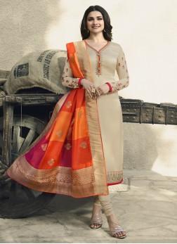 Prachi Desai Georgette Satin Churidar Designer Suit