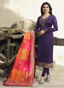 Prachi Desai Georgette Satin Embroidered Purple Churidar Designer Suit