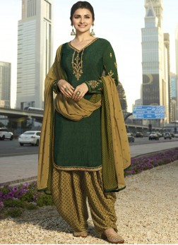 Prachi Desai Green Embroidered Designer Pakistani Suit
