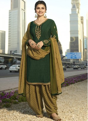 Prachi Desai Green Embroidered Designer Pakistani Suit