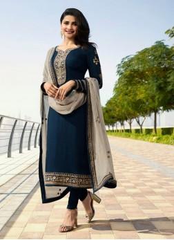 Prachi Desai Resham Designer Straight Suit