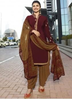 Prachi Desai Resham Maroon Designer Pakistani Suit