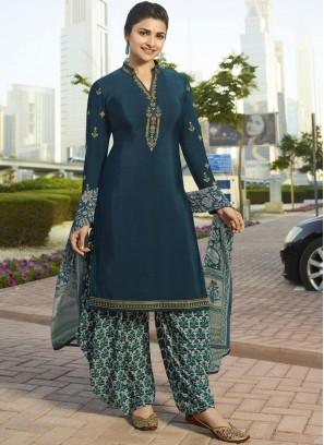 Prachi Desai Teal Embroidered Designer Pakistani Suit