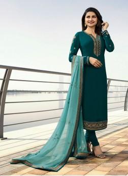 Prachi Desai Teal Festival Designer Straight Suit