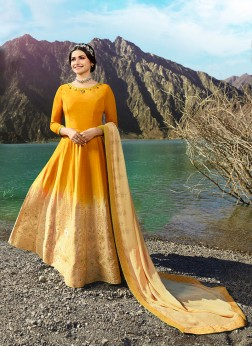 Prachi Desai Yellow Fancy Fabric Floor Length Anarkali Suit