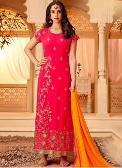 Praiseworthy Georgette Hot Pink Embroidered Designer Straight Salwar Suit