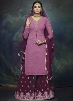 Praiseworthy Resham Faux Georgette Magenta Designer Palazzo Suit