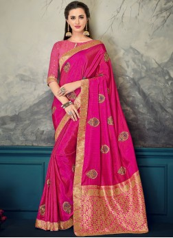 Precious Hot Pink Wedding Designer Saree