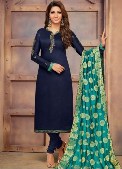 Precious Navy Blue Cotton Silk Churidar Suit