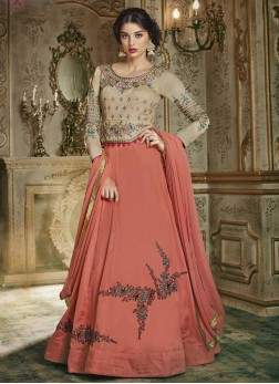 Preferable Embroidered Rose Pink Silk Anarkali Suit