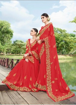 Preferable Georgette Embroidered Trendy Saree