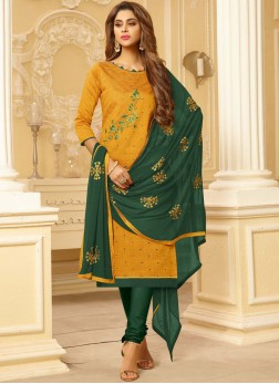Prepossessing Embroidered Yellow Cotton Churidar Suit