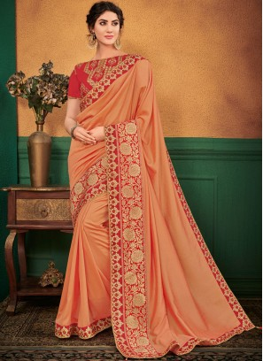 Prepossessing Patch Border Peach Designer Traditional Saree