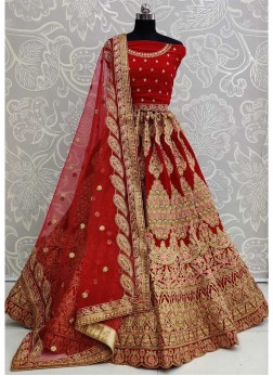 Prestigious Embroidered Designer Work On Lehenga Choli In Red