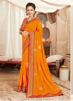 Pretty Embroidery Work Silk Saree In Orange