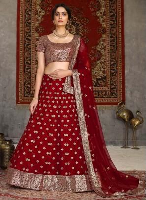Pretty Girlish Red Lehenga Choli In Embroidery Work