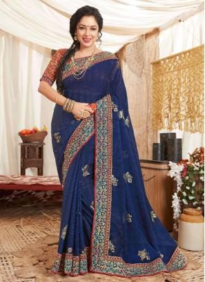 Pretty Look In Art Silk Saree On Blue