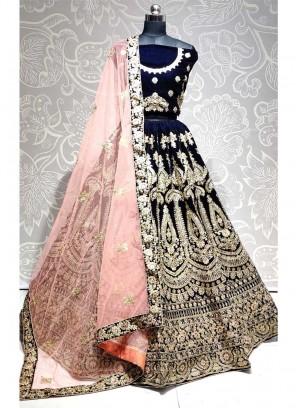 Pretty Look In Wedding Thread & Dori Work On Lehenga Choli In Navy Blue