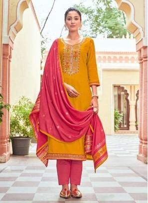 Pretty Pant Style Swarovski Dimond Work Salwar Suit In Yellow