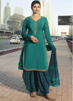 Pretty Prachi Desai Green Faux Crepe Designer Pakistani Suit