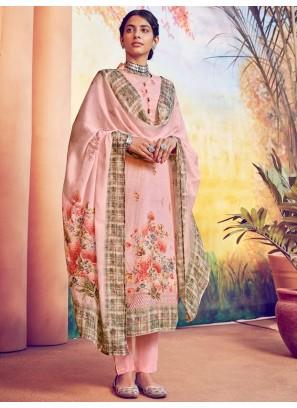 Pretty Resham Thread Work & Digital Print Salwar Suit In Pink