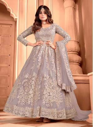 Pretty Silver Butterfly Net Designer Gown With Dupatta